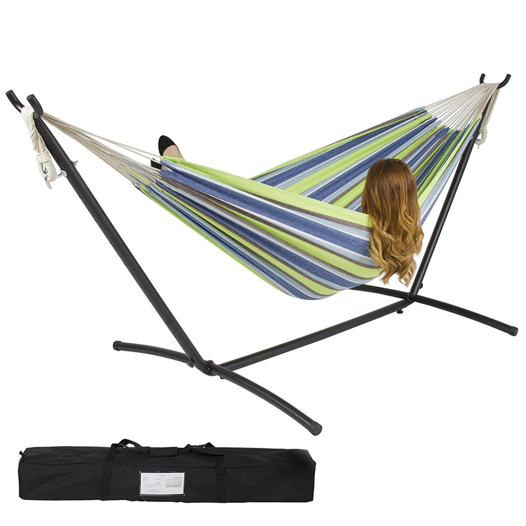 BestChoiceProducts Double Hammock with Space Saving Stand