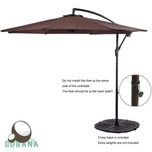 COBANA 10 Feet Cantilever Freestanding Patio Umbrella With Crank And Base,  Polyester