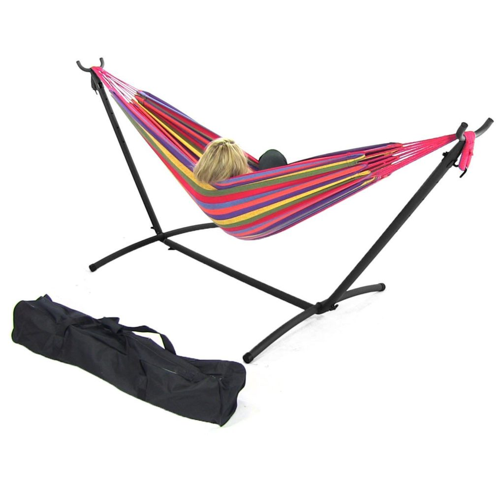 Sunnydaze Cotton Double Brazilian Hammock with Stand