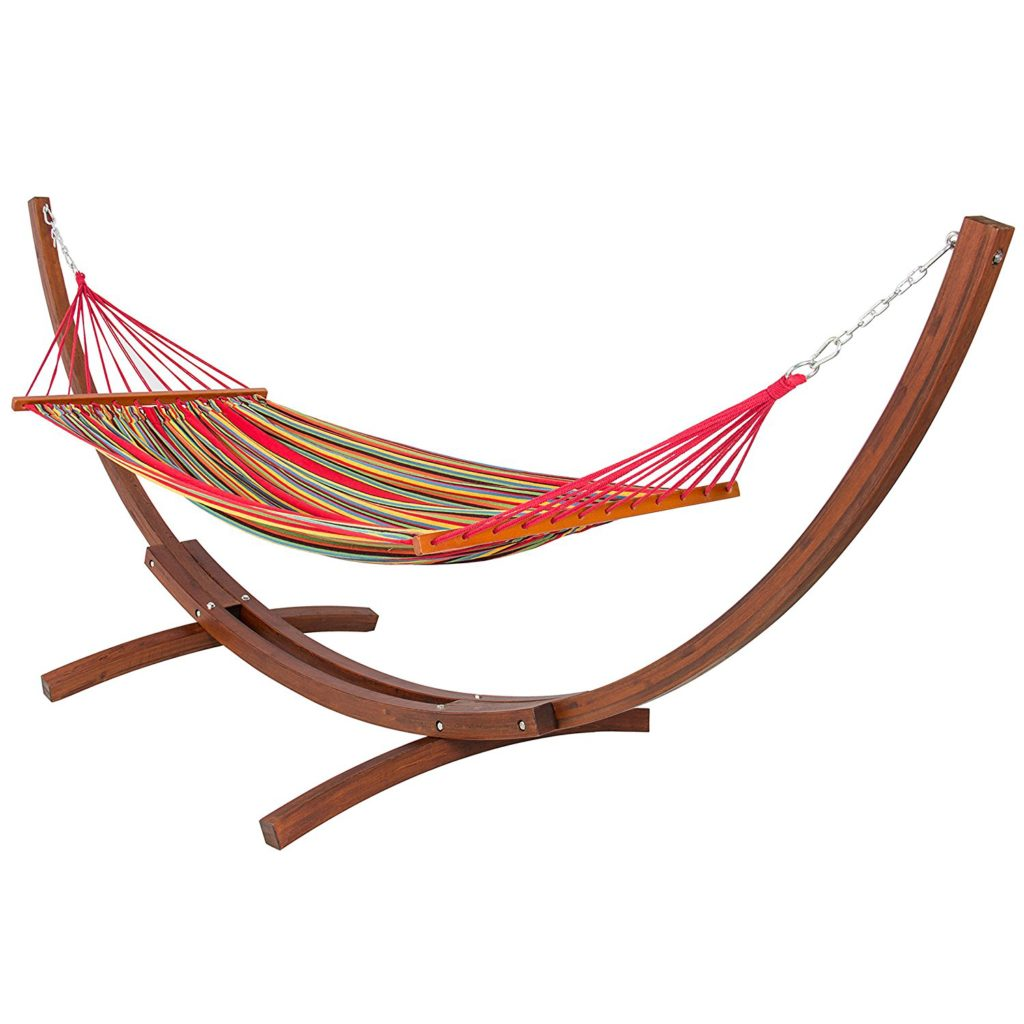 BestChoice Products Wooden Curved Arc Hammock with Stand