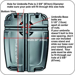 EasyGoProducts Offset Umbrella Base Weight Dimensions and Capacities