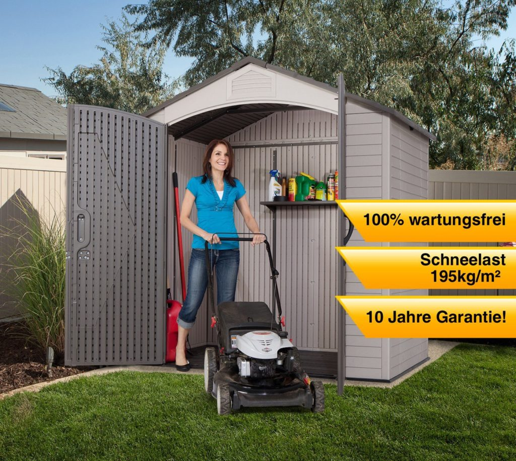 Lifetime 60057 Storage Shed and Woman Super Excited to Mow the Lawn