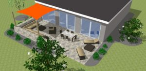 Rendering of a Sun Shade Sail Attached To House and Posts