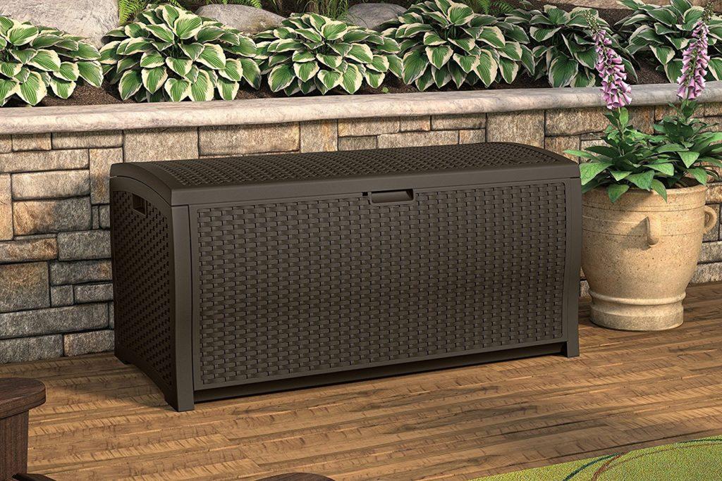 Suncast DBW9200 Mocha Wicker Resin Deck Box
