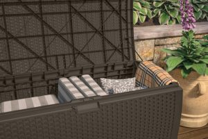 Suncast Mocha Wicker Resin Deck Box Interior