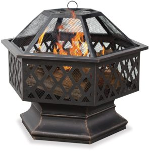 UniFlame Hex Shaped Outdoor Fire Bowl with Lattice, Oil Rubbed Bronze