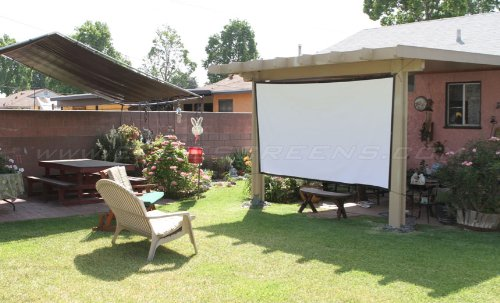 EliteScreens suspended from pergola