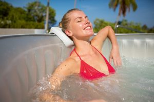 Relaxing in an Inflatable Hot Tub