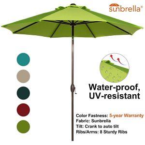 Abba Patio 9' Sunbrella Patio Umbrella Market Umbrella, Tilt Functionality