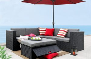 baner garden k35 4 pieces outdoor furniture complete patio cushion wicker rattan garden corner
