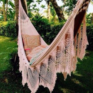 a gorgeous hammock  source  instagram beautiful fringe hammocks  macrame crochet the best backyard      rh   outsidemodern