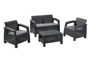 keter corfu 4 piece set all weather outdoor patio garden furniture w cushions charcoal