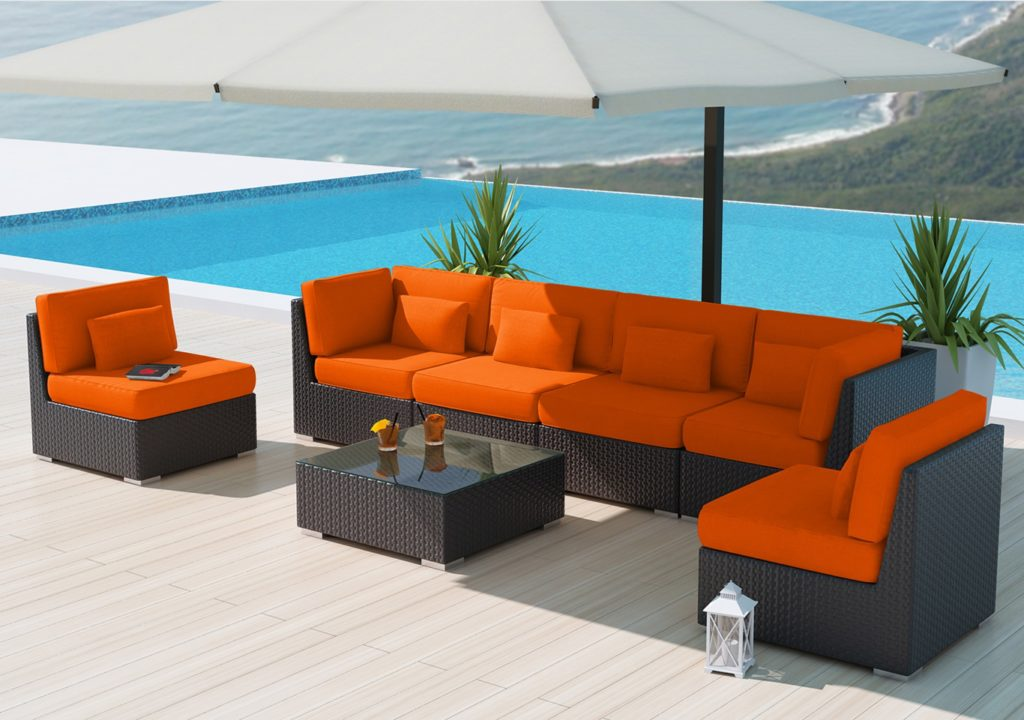 A PE Plastic Wicker Patio Furniture Sectional Set