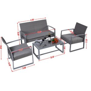 The Giantex Four Piece Patio Furniture Set Dimensions