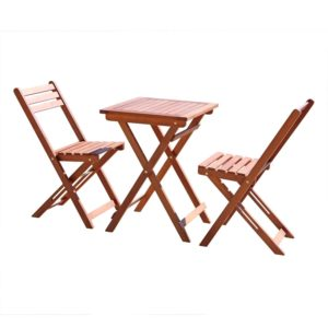 Vifah Wood Folding Bistro Table and 2 Chairs