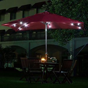Abba Patio 7 by 9 Feet Rectangular Patio Umbrella with Solar Lights, Tilt and Crank, Dark Red