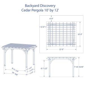Backyard Discovery Cedar Pergola Kit 12 x 10 Dimensions