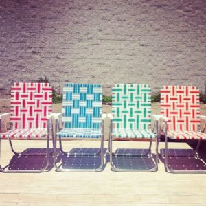 Attractive Classic Webbed Patio Chairs Source: Pinterest