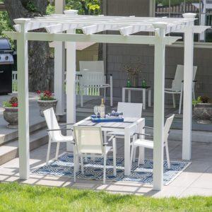 Harbor Bay 7.67 x 7.67-ft. Vinyl Pergola With Weather-Resistant Construction and 5 Shade Filters Across The Top