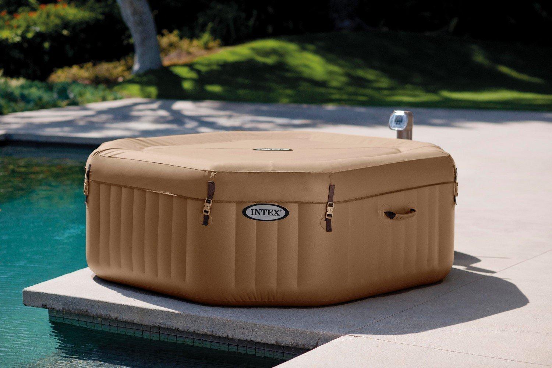 """Intex PureSpa Bubble Massage Portable Hot Tub, Octagon, 79"""" X 79"""" X 28"""", Sahara Tan"""