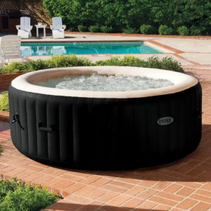 Intex PureSpa Jet And Bubble Deluxe Portable Hot Tub, Round, Onyx Black