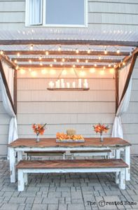 Outdoor Chandelier with String Lights Source: Remodelaholic