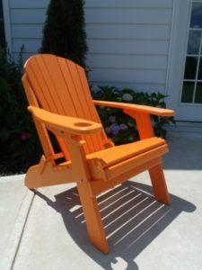 Poly Lumber Wood Folding Adirondack Chair, Orange