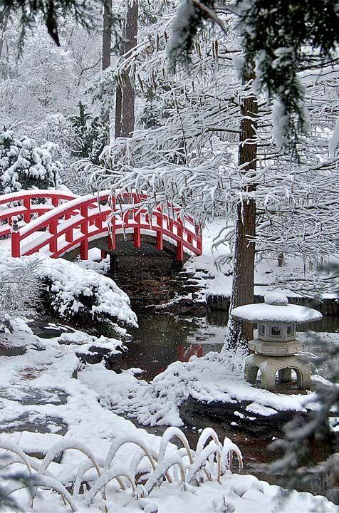 Red Bridge in Frozen Japanese Garden. Source: Pinterest