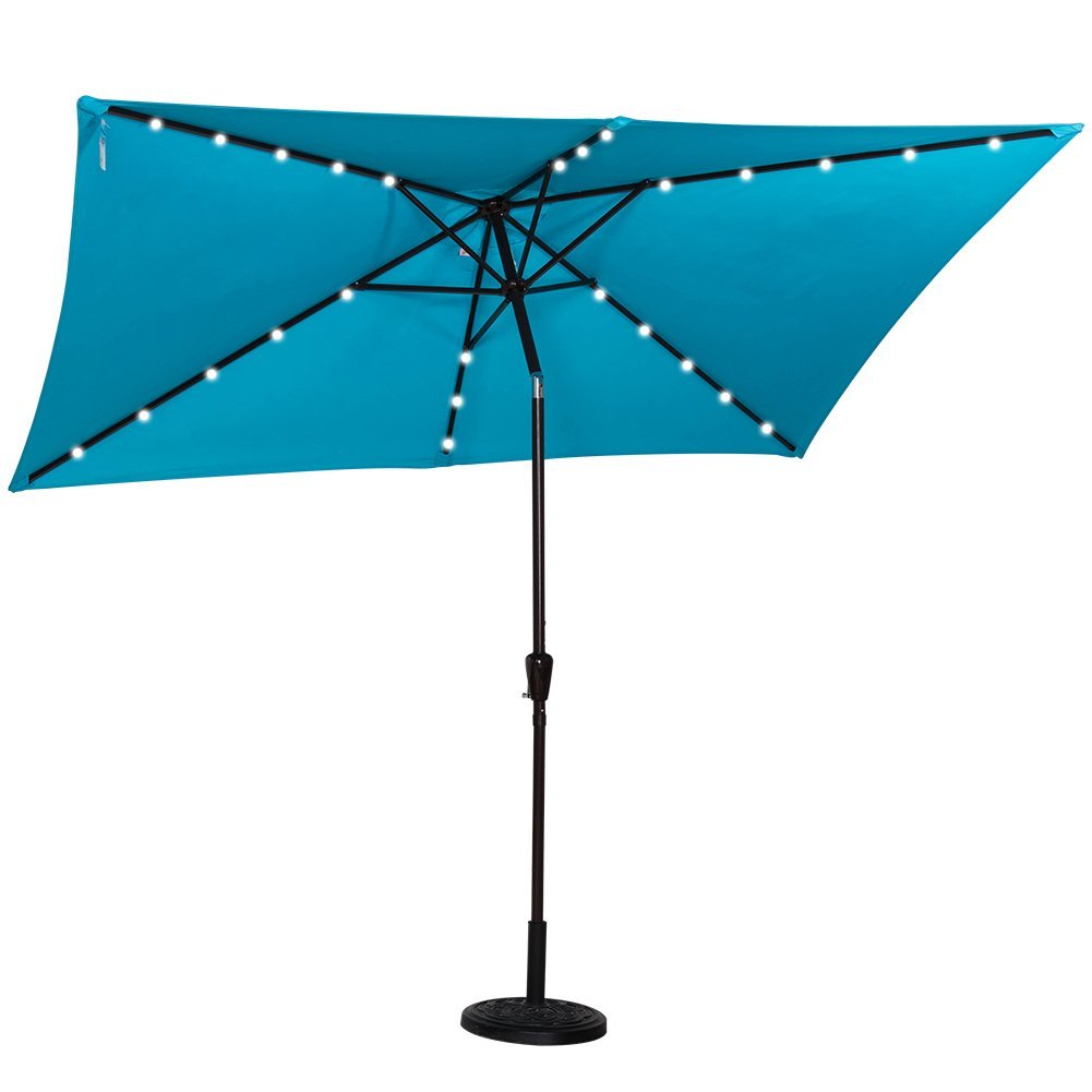 Blue Led Umbrella: Best Rectangular Patio Umbrella With Solar Lights