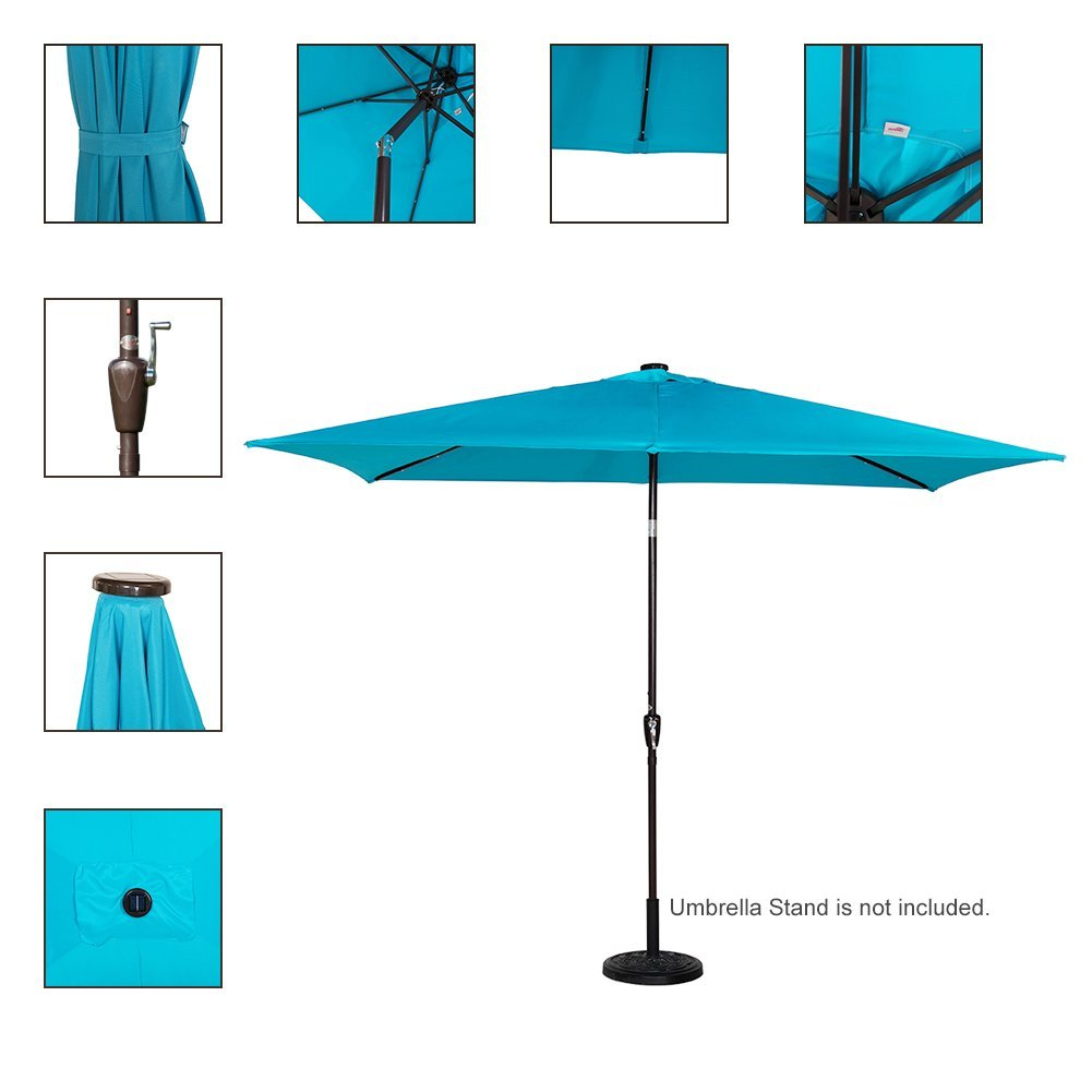 Best Rectangular Patio Umbrella With Solar Lights