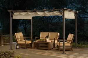 Metal Pergola with Canvas Cover by Sunjoy