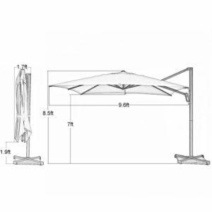 Abba Patio 10-Feet Offset Cantilever Umbrella Easy Open Dimensions