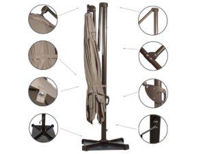 Abba Patio 10' Rectangular Cantilever Umbrella Details