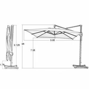 Abba Patio 10' Rectangular Cantilever Umbrella Dimensions