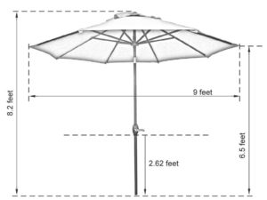 Abba Patio 9' Tilting Umbrella Dimensions