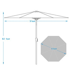 COBANA 9 Ft Deluxe Tilting Patio Umbrella Dimensions