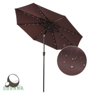 COBANA 9 Ft Deluxe Tilting Solar Powered 32 LED Lighted Aluminum Patio Table Umbrella, 100% Polyester