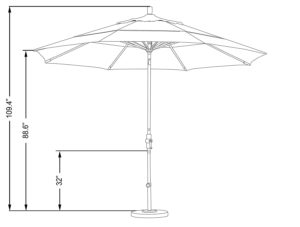California Umbrella 11' Tilt Umbrella Dimensions