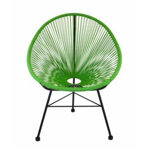 Design Tree Home Acapulco Indoor Outdoor Lounge Chair Weave On Black Frame, Green