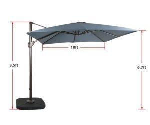 Domi Outdoor Living 10' Cantilever Umbrella Dimensions