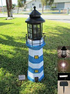 Garden Sunlight C5116W1 Solar Lighthouse Garden Decor