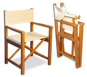 Goldenteak Teak Folding Directors Chairs (Set of Two) - Sunbrella fabric