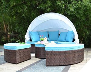 Husen Bellagio 4 Piece Daybed Outdoor Furniture Sectional Set