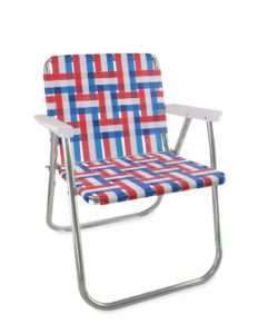 Lawn Chair USA Aluminum Webbed Chair (Picnic Chair, Old Glory with White Arms)