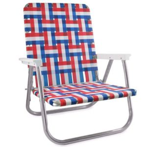 Lawn Chair USA Webbing Chair (High Back Beach Chair, Old Glory with White Arms)