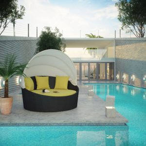 LexMod Siesta Outdoor Wicker Patio Espresso Canopy Bed with Peridot Cushions