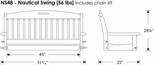 POLYWOOD NS48SA Nautical Swing Dimensions