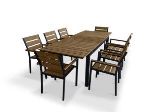 UrbanFurnishing 9 Piece Poly Wood Extendable Patio Dining Set