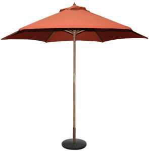 TropiShade 9' Wooden Market Umbrella Teak Finish