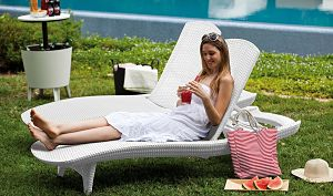 Keter Pacific Adjustable Outdoor Patio Chaise Lounge